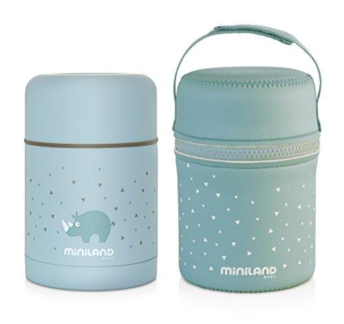 89221 Miniland Thermos per alimenti solidi di gran de capacità con borsa di neoprene 600 ml, AZURE