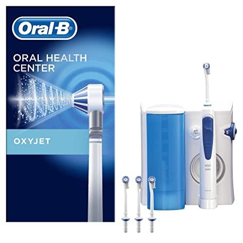 Oral-B Oxyjet Spazzolino Elettrico con Idropulsore Dentale, 4 Testine, con Tecnologia Microbollicine, Pulizia Profonda, Batteria Litio, Idea Regalo, Bianco