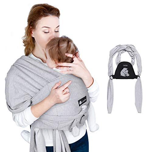 Lictin Fascia Porta Bebé - Fascia Porta Bambino Elastica, Baby Wrap, Marsupio Fascia Neonato acile da indossare,Morbido e Confortevole,per Neonati 18.4KG/40.5lbs il seguente,Grigio