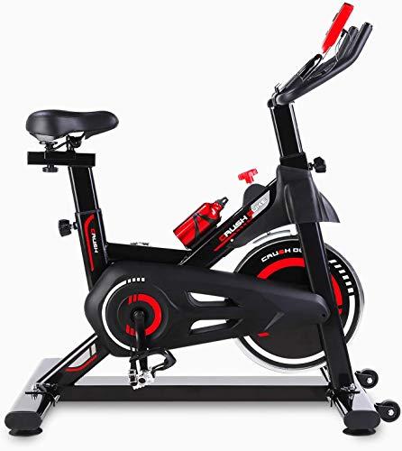 Femor Bici da Spinning Cyclette, Esercizio Bicicletta con Regolazione Continua della Resistenza, Display LCD con Visualizzazione Dati, 5 Regolazioni in Altezza per Braccioli e Cuscini, Max 150 kg