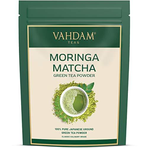 VAHDAM, tè verde Moringa Matcha (100 g 50 tazze) | Polvere di tè matcha 100% PURE di origine giapponese | ANTI-OSSIDANTI 137x | Tè verde per la peso | SUPER FOOD del Giappone