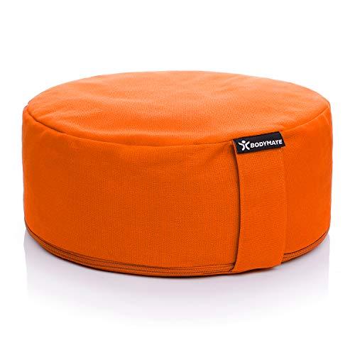 BODYMATE Cuscino Yoga Circonferenza 13 cm Diametro 31 cm con Imbottitura di Grano Saraceno e Spelta – Rivestimento Lavabile in Lavatrice 100% Cotone Extra Spesso – Cuscino da Meditazione – Zafu