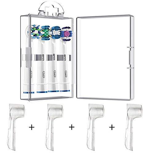 4 Confezioni Custodia Protettiva igienica + 1 Testina per spazzolino Elettrico Custodia per testine per spazzolino Orale B