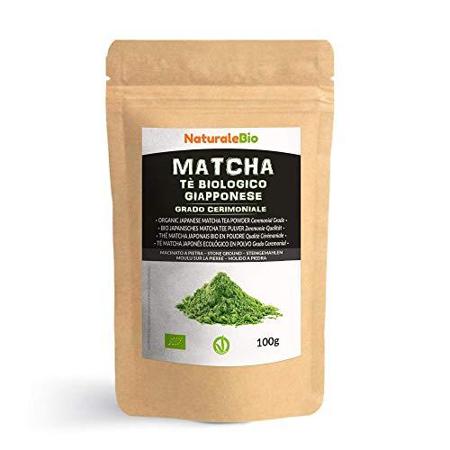 Tè Verde Matcha Biologico in Polvere [ GRADO CERIMONIALE ] 100g. Tea Verde Giapponese di 1 Grado. Bio Grado Cerimoniale A. The Prodotto in Giappone Uji, Kyoto. Ideale da bere e nel Latte