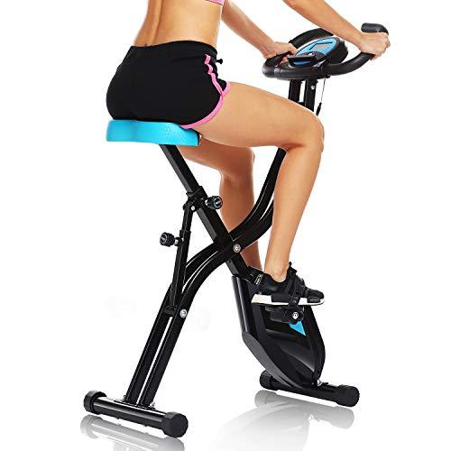 Profun Bicicletta da Appartamento, Pieghevole, con App a 10 Livelli di Resistenza Magnetica, per Fitness, con Supporto per Tablet/Telefono e Sedile Ampio e Confortevole, Nero