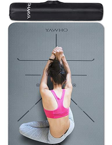 YAWHO Tappetino Yoga Tappetino per Il Fitness Tappetino per Esercizi TPE Materiale Ecologico,Specifiche 183 cm X 66 cm,6 mm di Spessore,Tappetino Sport Antiscivolo e Zaini Regalo (Grey)