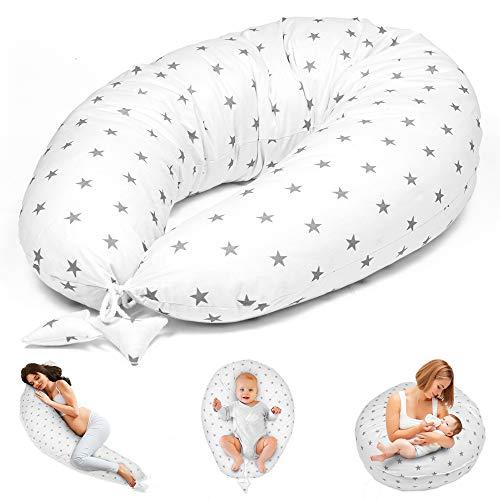 Cuscino Gravidanza per Dormire e Allattamento Neonato 165 x 70 cm - cuscino premaman e Riduttore Lettino XXL Bianco Con Stelle Grigie