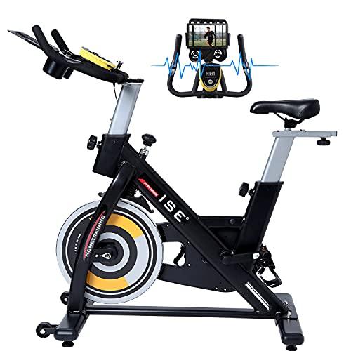 ISE Spinning Bike con Volano 15 KG, Cyclette Ergonomica con Sensore Integrato, Sella e Manubrio Regolabile, LCD Schermo, Porta Celullare, Ruote di Trasporto, Max.120 KG, SY-7909