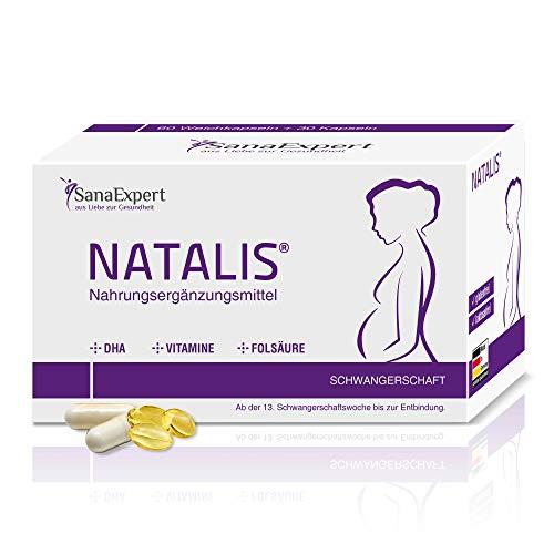 SanaExpert Natalis, integratore alimentare per donne in gravidanza con acido folico, ferro, DHA, vitamine extra, 90 capsule (67g)'