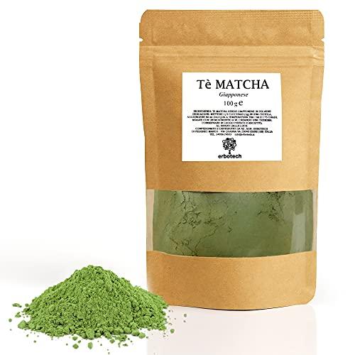 ERBOTECH Tè Matcha, The Verde Giapponese in Polvere, Busta da 100g, Multivitaminico Naturale al 100%, Vegan, Made in Italy. Ideale per Dolci, Frullati, Tè freddo