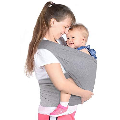 Lictin Fascia Porta Bambino - Fascia Porta Bebè Elastica, Baby Wrap, Marsupio Fascia Neonato per Neonati e Bambini Fino a 16 kg, Morbido e Confortevole, Grigio