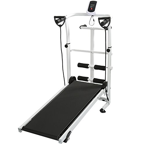 sarah Tapis Roulant Manuale Pieghevole, Tapis Roulant Multifunzione con Display LED, Sit-Up e Whirling Fitness, Carico Massimo: 100 kg