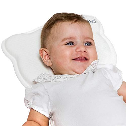 Cuscino Neonato Plagiocefalia Sfoderabile (con due Federe) per la Prevenzione e Cura della Testa Piatta in Memory Foam Antisoffoco - Bianco - Design Registrato KBC®