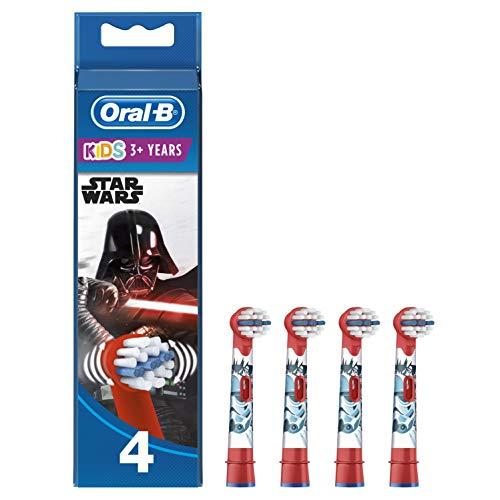 Oral-B Stages Testine di Ricambio per Spazzolino Elettrico Ricaricabile, con Personaggi Disney Star Wars, Appositamente per Bambini, Confezione da 4, Versione Vecchia