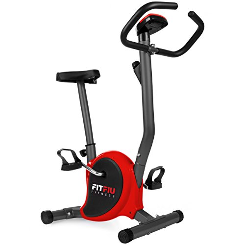 FITFIU Fitness BEST-100 Cyclette da Allenamento Rossa Ultracompatta, Regolabile in 8 Livelli di Resistenza, Sella Regolabile in Altezza e Schermo Lcd, Fitness Training A Casa