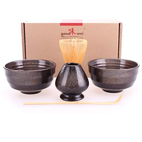 Goodwei Set di Tè Matcha Giapponese con titulare Chasentate - Due Tazze, frullino e cucchiaio di bambù (Goma)