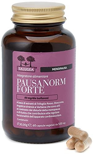 Salugea Pausanorm Forte 100% Naturale - Integratore Per La Menopausa Senza Soia, Con Trifoglio Rosso, Kudzu, Dioscorea, Verbena - Flacone In Vetro Color Rosa 30 Gr