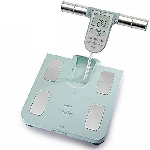 OMRON BF511 Misuratore della composizione corporea completo e clinicamente validato con 8 sensori ad alta precisione per la misurazione mani-piedi, Turchese