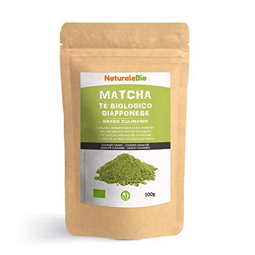 Tè Verde Matcha Biologico in Polvere [ GRADO CULINARIO ] da 100g. The Matcha Prodotto in Giappone Uji, Kyoto. Ideale per Dolci, Frullati, Tè freddo, Latte e in Cucina come Ingrediente nelle Ricette