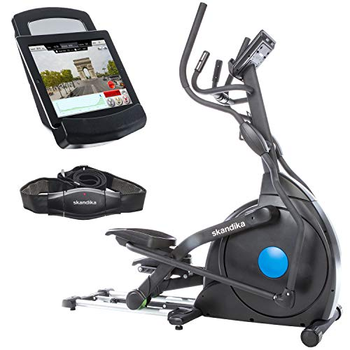 skandika CardioCross Carbon Champ - Ellittica - Sistema di frenaggio magnetico compiuterizzato - 19 Programmi - Bluetooth - Pieghevole - Carico massimo fino a 150 Kg