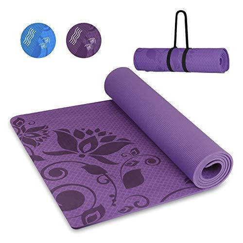 INTEY Tappetino da Yoga, Ecologico TPE Yoga Mat con Cinturino, Antiscivolo e Impermeabile, Adatto per Yoga, Pilates, Aerobica, 180 × 60 × 0.7 cm, Viola