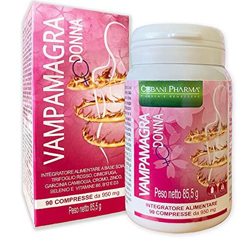 Vampamagra, integratore menopausa, 90 compresse | Riduce le vampate e Favorisce l'equilibrio del peso corporeo |con TRIFOGLIO ROSSO, Isoflavoni di Soia, Cimicifuga, Garcinia Cambogia | Cisbani Pharma