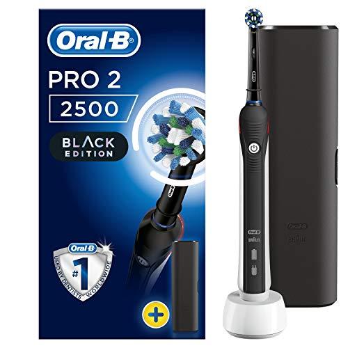 Oral-B Pro 2 2500 Spazzolino Elettrico 2 Modalità di Spazzolamento, 1 Testina, Batteria Litio, Idea Regalo, Black Special Edition