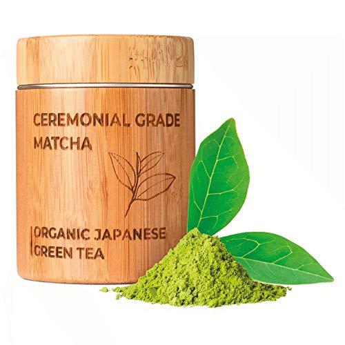 MATCHITA - Tè Matcha Organico in Polvere | 100% EU-BIO | Tè Verde Giapponese di Grado Cerimoniale | Migliora Energia | Adatto a Latte, Bevande Calde e Frullati | Contenitore di Bambù