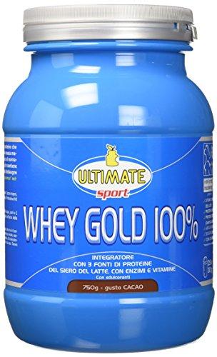 Ultimate Italia Whey Gold 100% - Proteine del Siero Latte Isolate e Idrolizzate – Integratore di per la Crescita il Mantenimento della Massa Muscolare Magra Gusto Cacao, Cioccolato, 750 Grammi