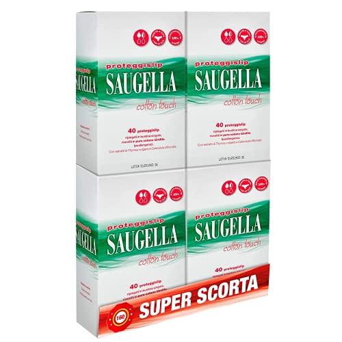 Saugella Saugella Cotton Touch Proteggislip Esterni Ad Azione Antiodore Adesivi In Cotone Ipoallergenici, Confezione Da 160 Pezzi - 80 g