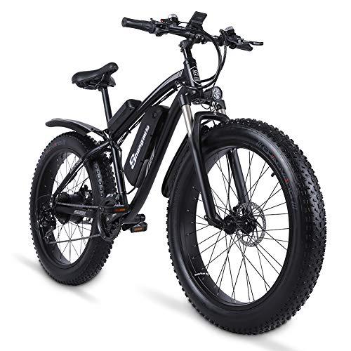 """Shengmilo 26"""" Bici Elettrica da Citt 1000w Mountain Bike Fat Bikes Ebike Bicicletta Elettrica con 48V 17Ah Batteria al Litio Rimovibile,Display LCD,Shimano a 21 velocità"""