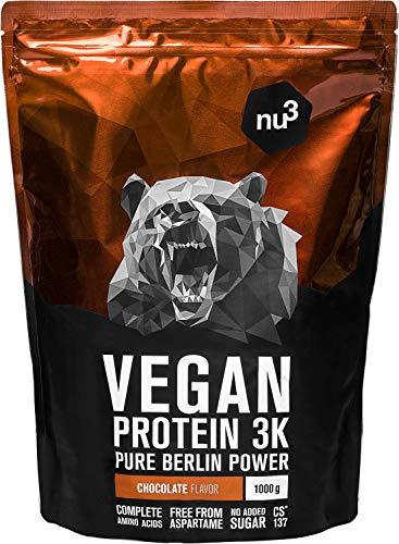 Proteine Vegane 3K - 1 Kg al gusto Cioccolato - Proteine in polvere dei piselli, semi del girasole e riso – Integratore a base di 4 componenti - 70% di proteine - Informed Sport Certified - da nu3