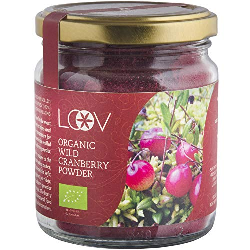 Polvere di Mirtillo Rosso Selvatico Biologico: 100 g, ad Alto Contenuto di Antiossidanti, a Base di Bucce e Semi di Bacche, Senza Zucchero, Fornitura per 20 Giorni, Lavorato Allo Stato Selvatico