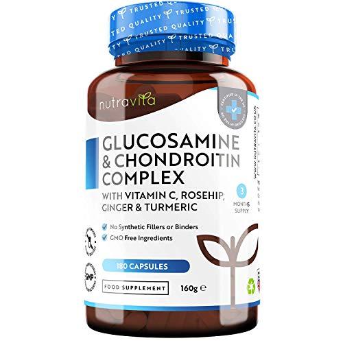 Glucosamina e Condroitina Complesso - Glucosamina Solfato e Condroitina con Vitamina C, Estratti di Cinorrodo, Zenzero e Curcuma - 180 Capsule Alta Dosaggio - Prodotto nel Regno Unito da Nutravita