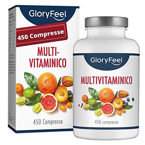 Multivitaminico e Multiminerale - 450 Compresse (Scorta Formato Famiglia per 1+ Anno) - Vitamine A,B,C,D3,E, Calcio, Zinco, Selenio - Integratore Vitamine e Minerali Essenziali