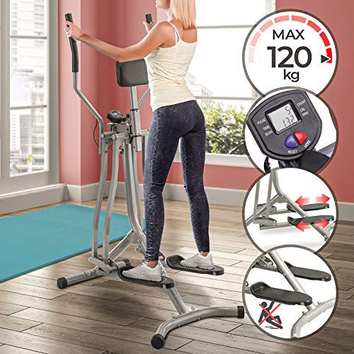 Physionics Cross Trainer - con Display LCD, Carico Massimo 120 kg, Sensore di Frequenza Cardiaca e Supporto Addominale, Acciaio - Air Walker, Stepper con Manubrio