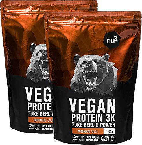 nu3 Vegan Protein 3K Proteine Isolate Vegetali in Polvere 2 KG - Polvere Proteica con Proteine da Piselli/Canapa/Riso Buona Solubilità - 70% Proteine - CS 137 Senza Aspartame - Gusto Cioccolato