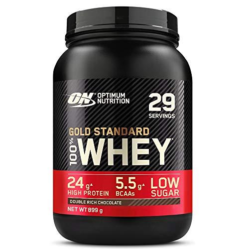 Optimum Nutrition Gold Standard 100% Whey Proteine in Polvere con Proteine Isolate ed Aminoacidi per la Massa Muscolare, Doppio Cioccolato, 29 Porzioni, 899 g, il Packaging Potrebbe Variare