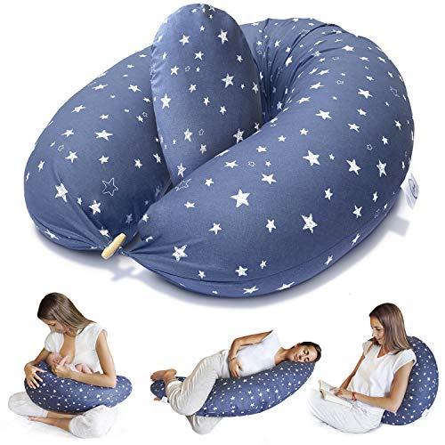 Bamibi ® Cuscino Allattamento + Cuscino Interno Multifunzionale e Cuscino Gravidanza per Dormire in Posizione Laterale, Federa 100% Cotone (Stelle)