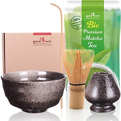 Goodwei Set di Matcha Completo con Matcha Tè Verde Giapponese di qualità premium organico. (Goma)