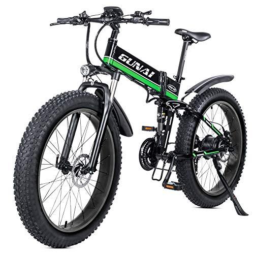 GUNAI Bici elettrica 26 Pollici Pieghevole Fat Tire Snow Bike 21 velocità Mountain E-Bike con Sedile Posteriore (Verde)
