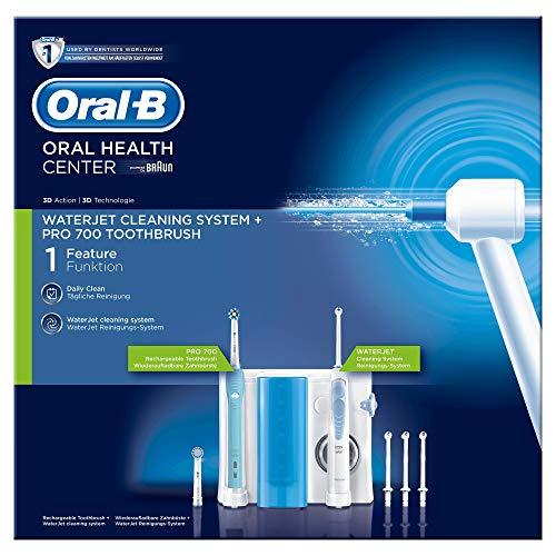 Oral-B Waterjet Pro 700 Spazzolino Elettrico con Idropulsore Dentale, 4 + 2 Testine, con Azione Pulente e Massaggiante, Batteria Litio, Idea Regalo, Bianco
