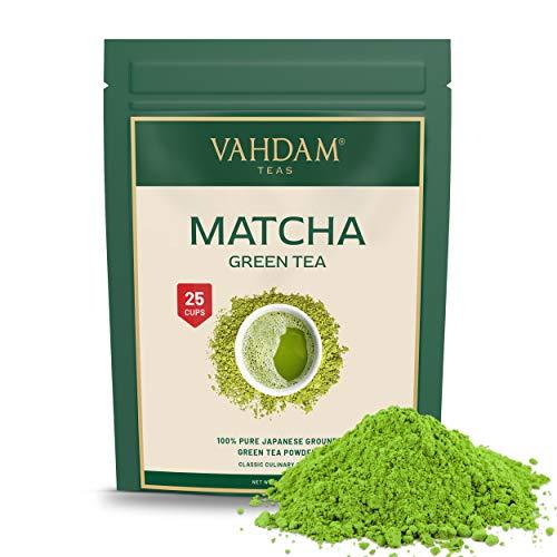 VAHDAM, Tè Verde Matcha (25 porzioni)| 100% PURO Tè in Polvere Matcha Giapponese | 137 Volte Più ANTIOSSIDANTI | Più Energia e Concentrazione | Per Detox e Perdere Peso | Superfood Giapponese | 50g