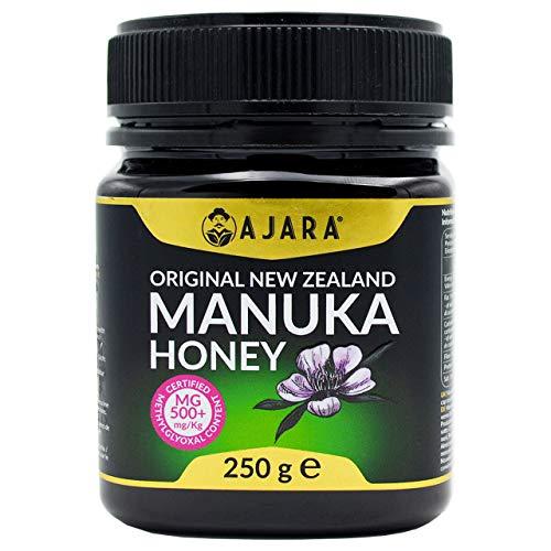Miele di Manuka 500+ MGO da 250 gr. Attivo, Grezzo, Puro Naturale 100% Raccolto e Certificato per contenuto di Metilgliossale in Nuova Zelanda da laboratori autorizzati Concentrazione MGO Alta - AJARA