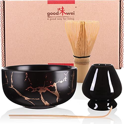 Set Matcha Kit Cerimonia Giapponese - Ciotola Tè Matcha, Frullino e Porta Chasen, disegno in marmo (Nero, 120)