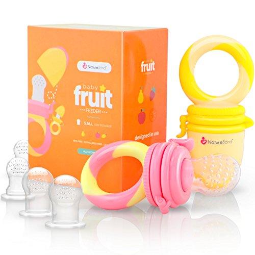 Ciuccio per Frutta Neonati Alimenti NatureBond (2 Pezzi) – Gioco per Stimolare la Dentizione dei Bambini in Colori che Stimolano l'Appetito   Include i Sacchetti in Silicone di Tutte le Taglie