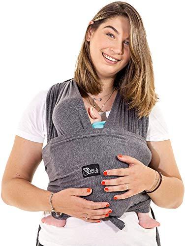 Fascia porta bambino facile da indossare (easy on), regolabile unisex - Marsupio neonati multiuso adatto fino a 10kg - Fascia porta bebe - Antracite - Design Registrato KBC®