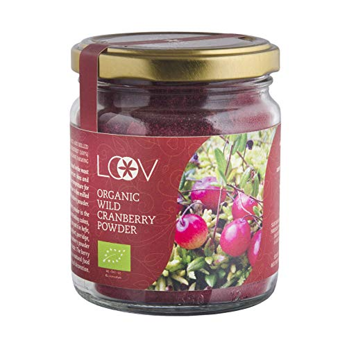 LOOV Polvere biologica di mirtillo rosso americano (polvere di sansa), 100 g, ricca di antiossidanti e fitonutrienti, non zuccherata, prodotta da buccia e semi di bacche cresciute in foreste nordiche