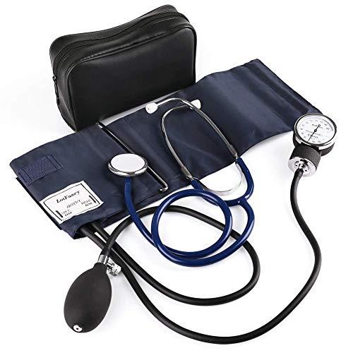 LotFancy Misuratore Pressione Kit Sfigmomanometro Aneroide Stetoscopio Set Monitor della Pressione Sanguigna con Stetoscopio Bracciale Universale per Adulti Custodia Inclusa(25.5cm - 40cm)