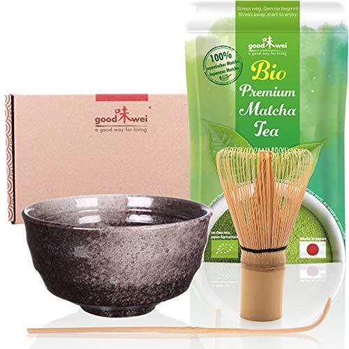 Goodwei Set di tè Matcha: 30g tè Matcha da Agricoltura Biologica con Ciotola per Matcha, Frullino e Cucchiaio di bambù (Goma)